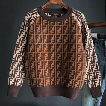 FENDI Autumn Winter Fashionable Women Casual Long Sleeve Round Collar Knit Mohair Sweater Pullover Top Sweatshirt Brown