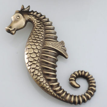 Vintage Brooch - Seahorse Jewelry - Brass Jewelry - Beachy Jewelry - Statement Jewelry - handmade jewelry
