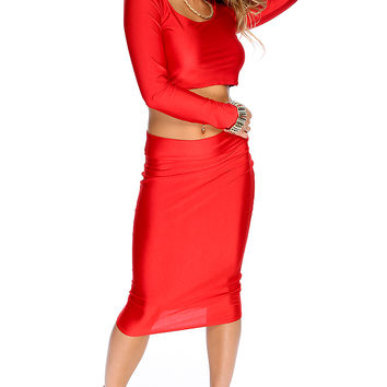Sexy Red Long Sleeves Crop Top High Waist 2Pc. Party Dress