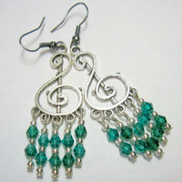 Treble Clef Dangly Pierced Chandelier Earrings Green / Teal 1 Pair