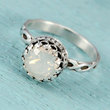 Silver ring with Swarovski white opal crystal, vintage floral band, handmade, 8 mm crown setting, October birthstone, antique style