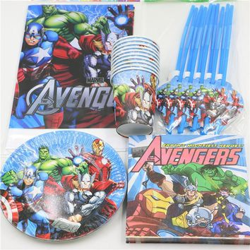 51pcs Avengers Disposable Birthday Party Decorations set Paper Cups/Glass Tablecover Straw for 10 Kids Boy Favors Party Supplies