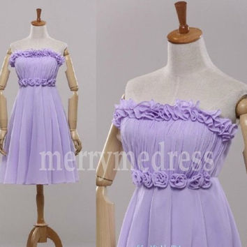 Retro Lilac Strapless Flower Empired Short Bridesmaid Dress, Mini Chiffon Formal Evening Party Prom Dress New Homecoming Dress