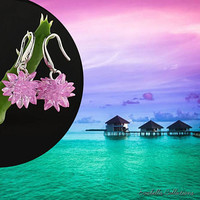Bora Bora - The Exotic Flower Earrings - Handcrafted in Sterling Silver