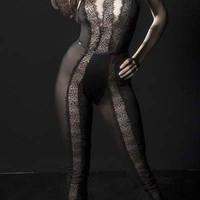 Sexy Collared Sheer and Satin Plunge Bodysuit With T-Bar Eyelash Lace