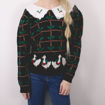 Vintage Knit Holly Ugly Christmas Sweater