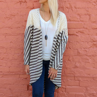 Heaven On Earth Mocha Striped Cocoon Cardigan With Crochet Lace Details