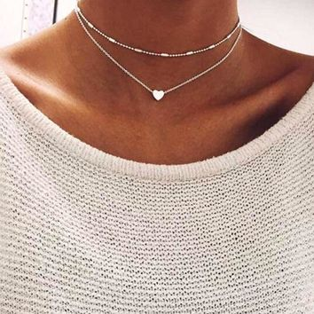 Simple Love Heart Choker Necklace For Women Multi Layer Chocker Necklaces & Pendant Collares Mujer collier femme Gift