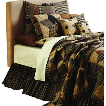 8-pc Bingham Star Patchwork Quilt Deluxe Bed Skirt Sets - Choose Size - Black, Red, Creme, Tan Plaid