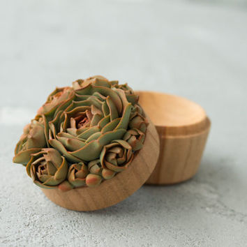 Green Olive Succulent Ring Box Bearer Case Wooden Round Decorated Engagement Ring Holder Marriage Offer Ring Case Birthday Gift Home Decor
