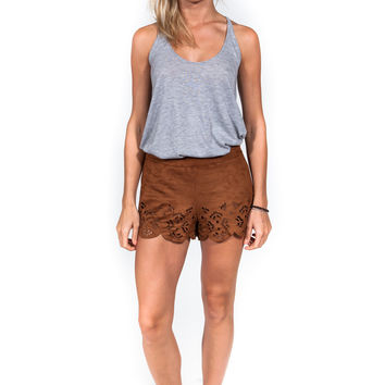 Scallop Suede Shorts