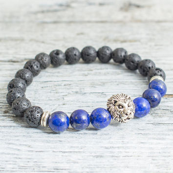 Black lava stone beaded silver Lion head stretchy bracelet with lapis lazuli, made to order yoga bracelet, mens bracelet, womens bracelet