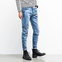 Men Jeans Ripped Biker Hole Denim robin patch embroidery Harem jeans for men Pants
