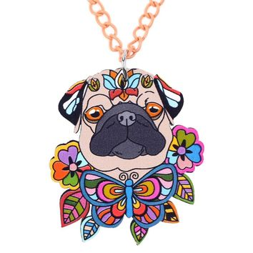 Bonsny Acrylic French Bull Pug DOG Necklace