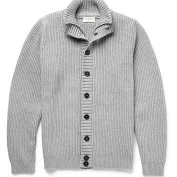 John Smedley - Suede Elbow Patch Merino Wool and Cashmere-Blend Cardigan | MR PORTER