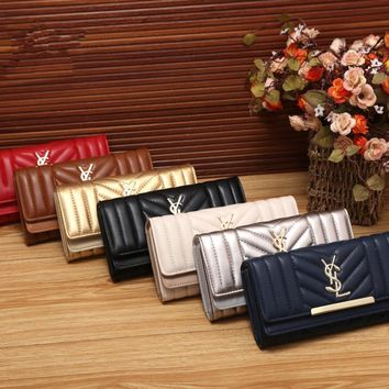 """Yves Saint Laurent YSL"" Women Simple Fashion Long Section Multifunction Purse Button Three Fold Wallet Handbag"