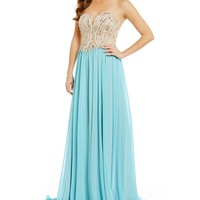 Glamour by Terani Couture Strapless Beaded-Bodice Sweetheart Neck Dress | Dillards
