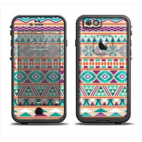 The Tan & Teal Aztec Pattern V4 Apple iPhone 6 LifeProof Fre Case Skin Set