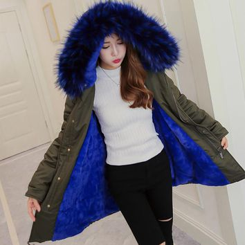 Blue Faux Fur Coat Women Jacket Winter Parkas Big Fur Hooded Warm Outwear Thcker Clothes Warm Flannel Girl Ladies Clothing HOT