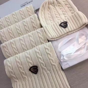 Alexander McQueen Fashion Beanies Knit Winter Hat Cap Scarf Scarves Set Two-Piece-1