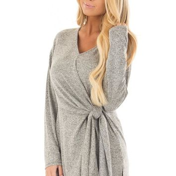 Heather Grey Two Tone Top with Front Tie Detail