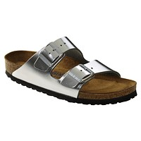 Beauty Ticks Birkenstock Classic Arizona Smooth Leather Soft Footbed Regular Fit Metallic Silver