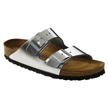 Birkenstock Classic Arizona Smooth Leather Soft Footbed Regular Fit Metallic Silver | Best Deal Online
