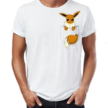 Men's T Shirt Pokemon Eevee Pocket Tee Evolution Funny Crossover Artwork Awesome Tee