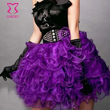 Plus Size Micro Gothic Punk Tutu Skirt Women Multilayer Ruffles Burlesque Sexy Purple Mini Skirts Adult Pettiskirt Match Corset
