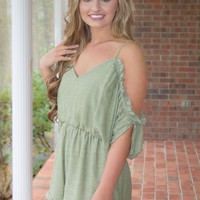 For The Frill Of It All Romper-Olive