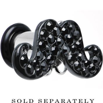 2 Gauge Black Gem Paved Fancy Mustache Single Flare Steel Plug