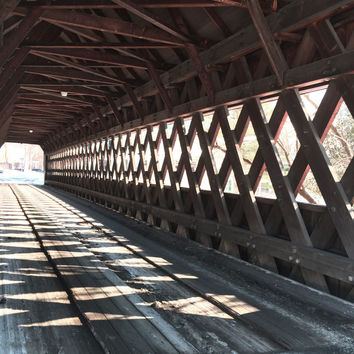 Covered Bridge Photo, American architecture Vermont New England