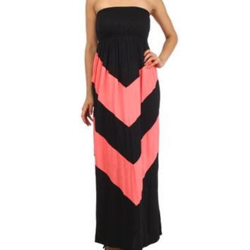 In Style Black/Coral Strapless Maxi Dress