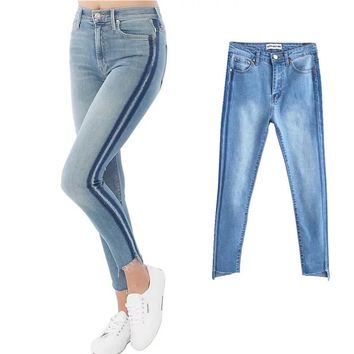 Autumn vintage Demin stripe ripped jeans woman bottom Summer High waist Slim was thin pants capris Women stretch pencil pants