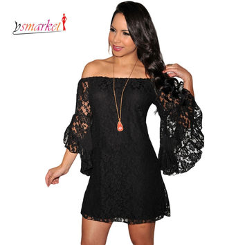 big size xxl Lace Off Shoulder half sleeve coverups xxl women sexy beach dress loose lined Swim cover ups beach dress oversized