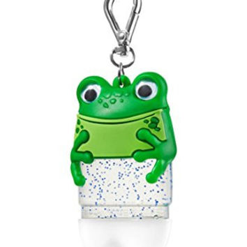 Frog Pocketbac Holder - Green Froggy with pair of googly eyes - Bath and Body Works pocketbac holder keychain - holds any new style round oval pocketbac hand sanitizer gel