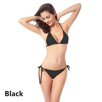Women's Solid Color Polyester Bikini Set 11-color halter strap Wire Free swimsuit