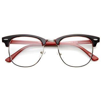 Retro Two Tone Colorful Clear Lens Half Frame Horned Rim Glasses