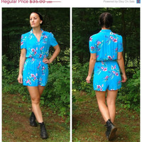 20% OFF SALE 80's does 40's Turquoise Blue Tropical Romper. Floral Playsuit. Button Up Bodice. Short Sleeves. Hipster. XS Small