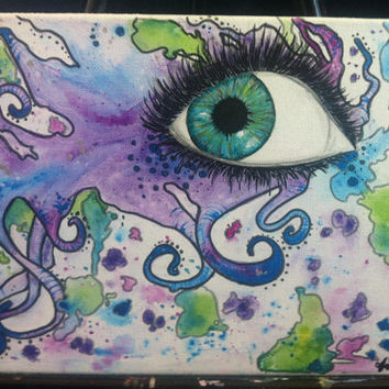 Tentacle Swirl Eyeball 8x10 Water Color Canvas Painting
