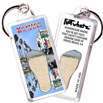 Venice Beach FootWhere® Souvenir Key Chain. Made in USA