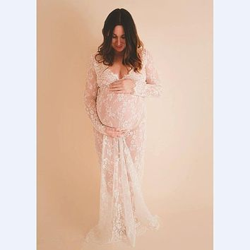 f9b50280598 2017 Maternity photography props maxi Pregnancy Clothes Lace Maternity Dress
