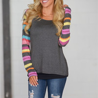 Over The Rainbow Raglan Top - Charcoal