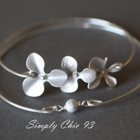 Orchid Bracelet, Orchid Bangle, Flower Bangle, Silver Bangle,Single Pearl, Metal Pearl, Brashed Pearl, Stacking Jewelry