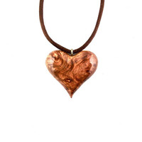 Wood Heart Pendant, Heart Pendant, Wooden Heart Necklace, Heart Necklace, 5th Anniversary Gift, Wood Jewelry, Heart Jewelry, Wood Necklace