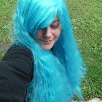 Blue Wig, fluffy wig, aqua blue, teal blue, fluffy blue Wig, Long blue wig, bangs, curly, wavy, cosplay, full, thick, aqua wig,