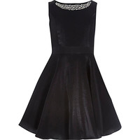 River Island Girls black embellished prom dress