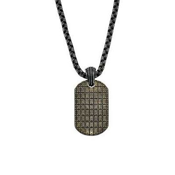 "Triton Men's Dog Tag Pendant in Bronze Plated Sterling Silver and Stainless Steel - 30"" - Save on Select Styles - Zales"