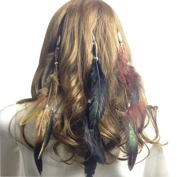 ONETOW 2017 Fashion Women Hair Accessories Peacock Feather Headband Party Christmas Headband Costume Party Head Piece Hair Band