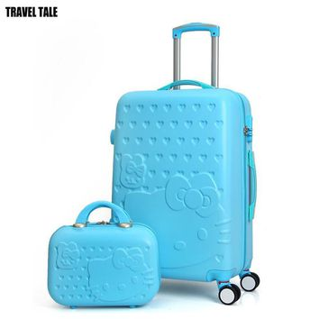 "TRAVEL TALE ABS women pink 28"" trolley luggage bag 20"" spinner hello kitty carry on travel suitcase for girls"